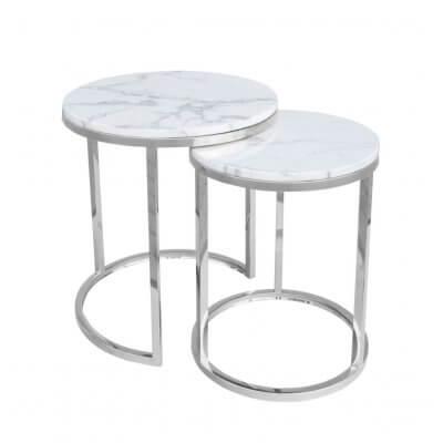 Stolik kawowy zestaw dwóch stolików Camelio srebrny/biały