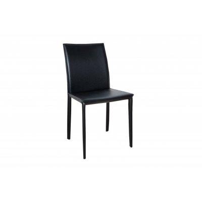 INVICTA krzesło MILANO czarna skóra - skóra ekologiczna, metal