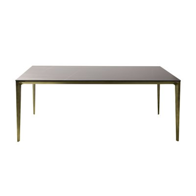 Stół matowy marmur podstawa miedź rustykalna 180 x 90