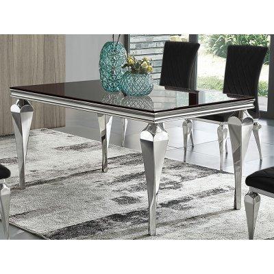 Stół czarny szklany blat 150 x 90 x 75