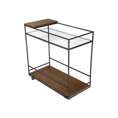 Barek mobilny drewno szkło 80 x 40 x 80