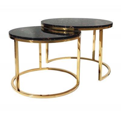 Stolik kawowy zestaw dwóch stolików Camelio XL złoty/czarny